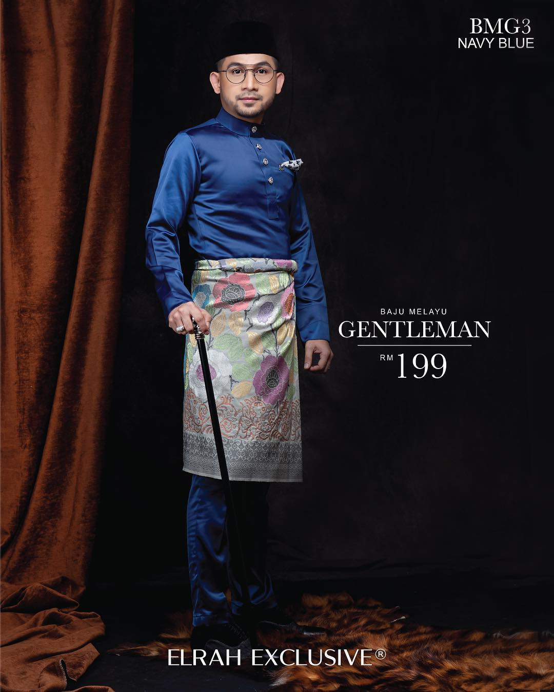 Baju Melayu Gentleman Navy Blue