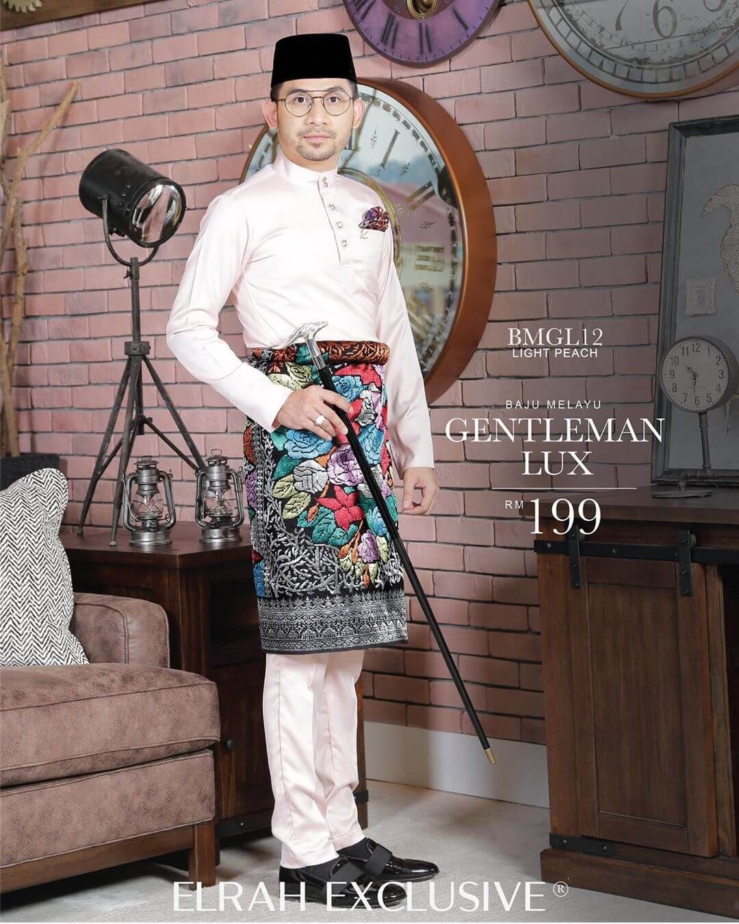 Baju Melayu Gentleman Lux Light Peach