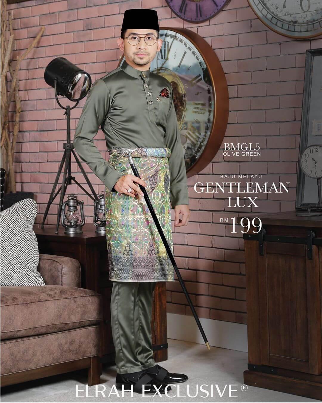 Baju Melayu Gentleman Lux Olive Green