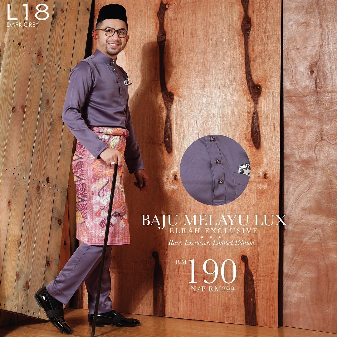 Baju Melayu Lux 1.0 Dark Grey