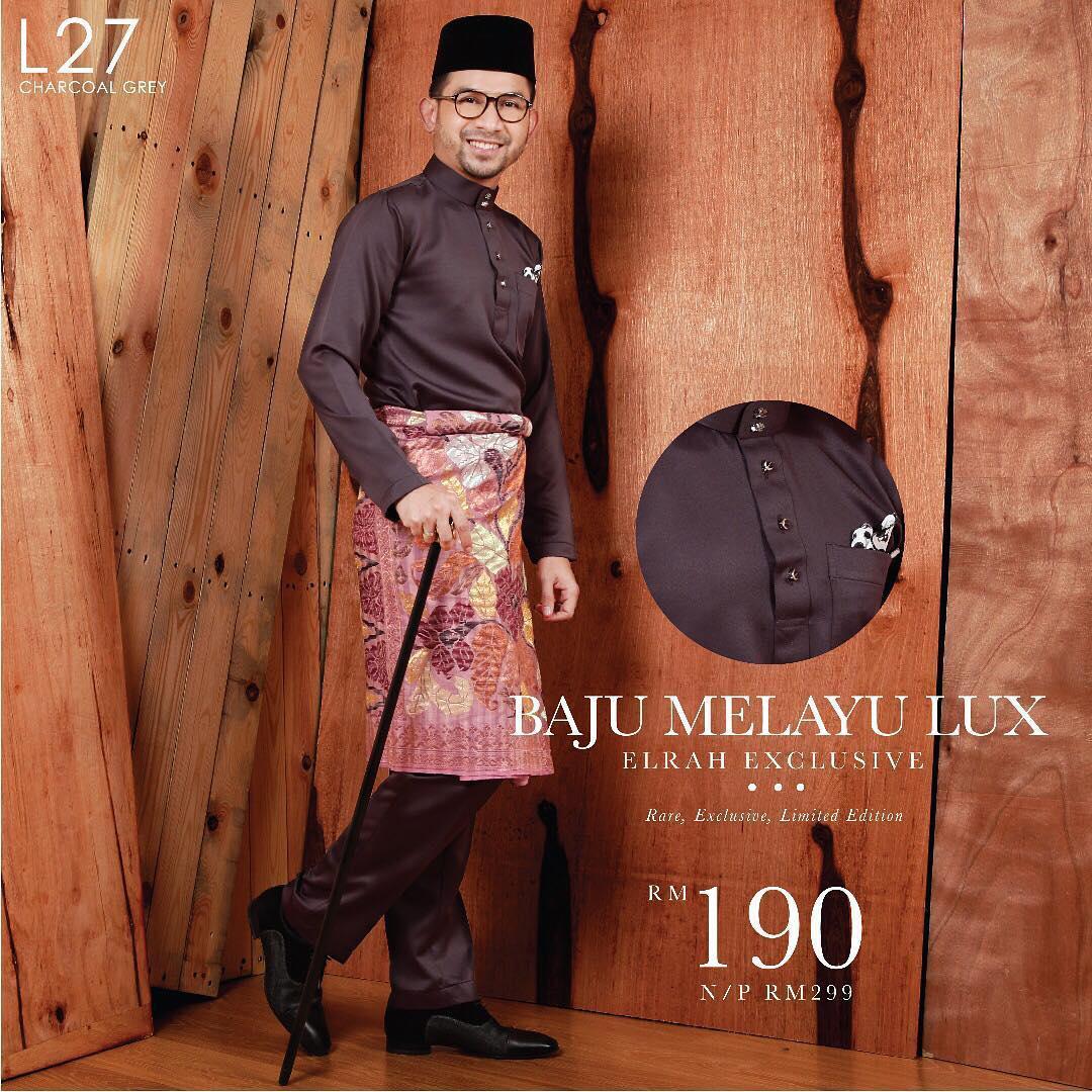 Baju Melayu Lux 1.0 Charcoal Grey