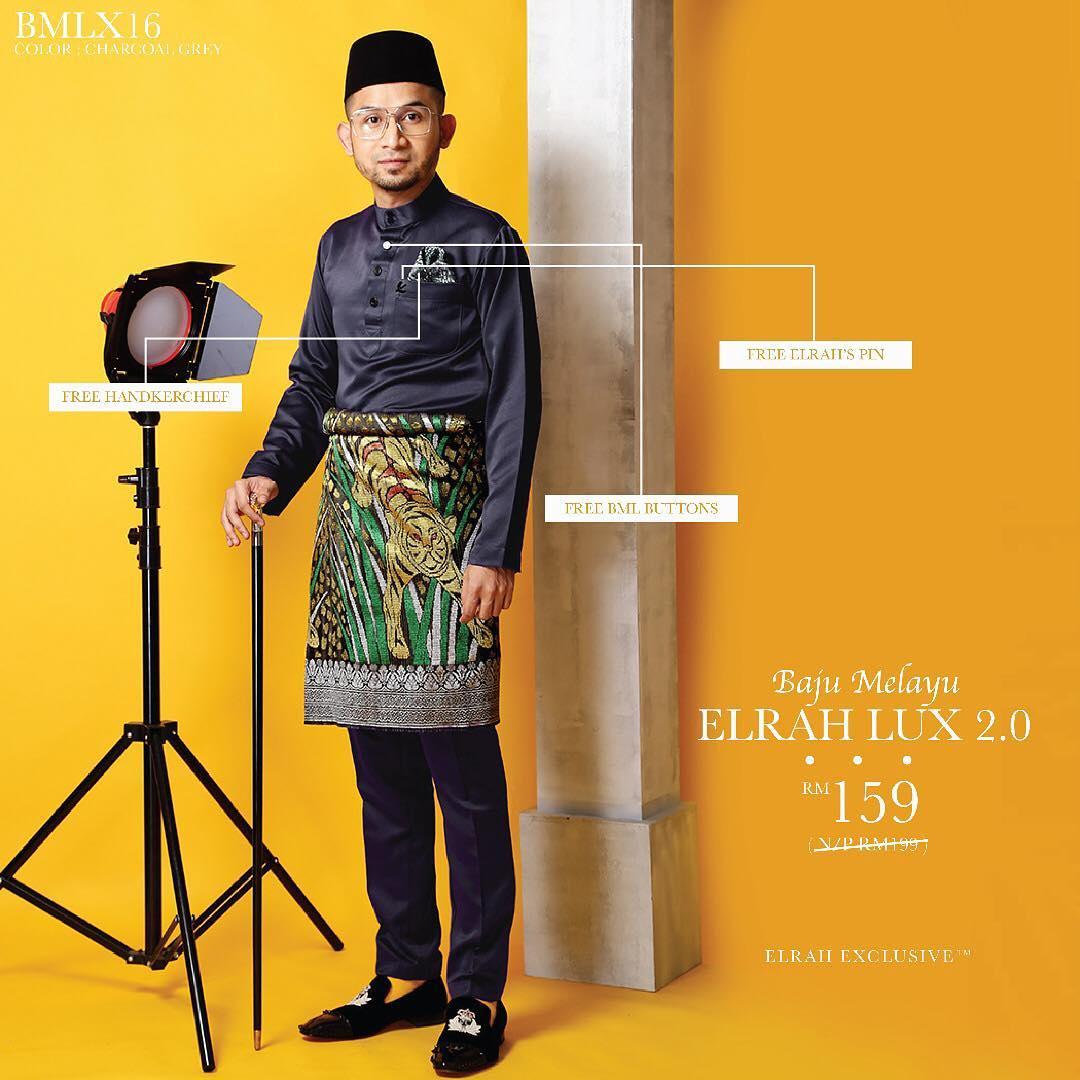 Baju Melayu Luxe 2.0 Charcoal Grey