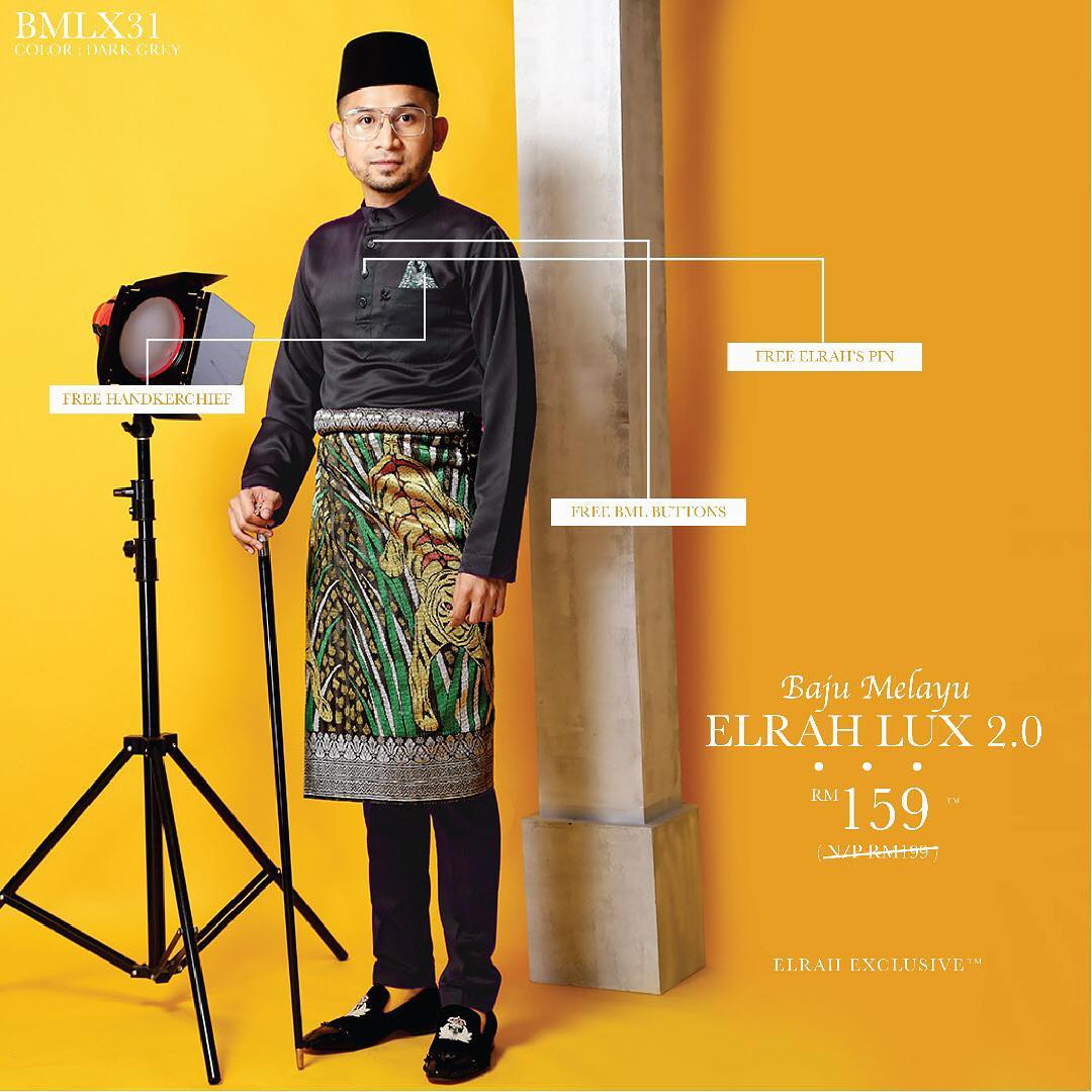 Baju Melayu Luxe 2.0 Dark Grey
