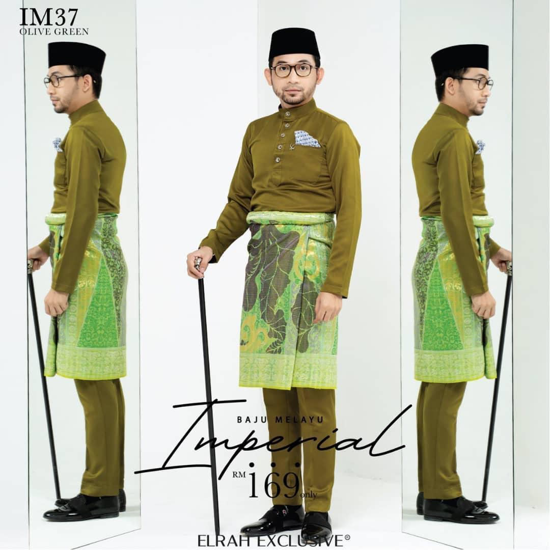 Baju Melayu Imperial Olive Green