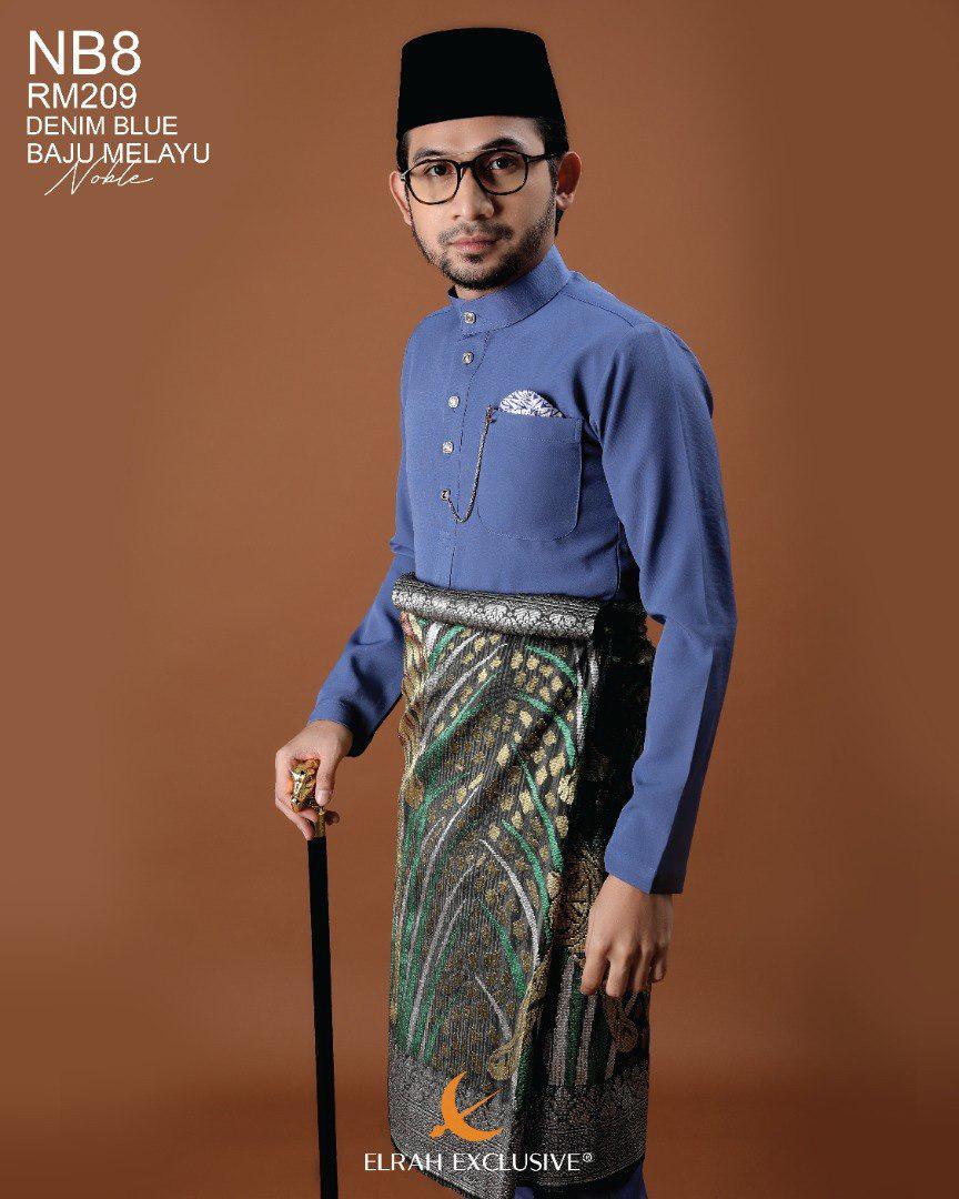 Baju Melayu Noble Denim Blue